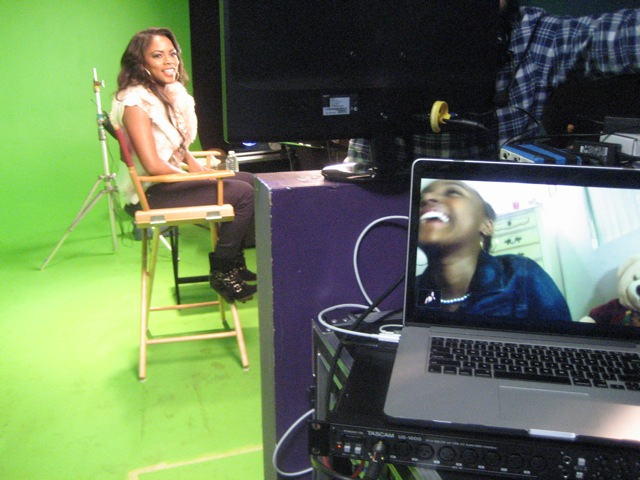 Shanica talks with one of the contestants on skype during setup.